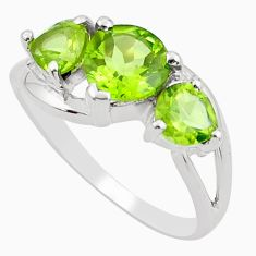 925 sterling silver 3.93cts natural green peridot ring jewelry size 7.5 r5866