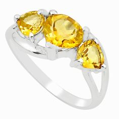 4.24cts natural yellow citrine 925 sterling silver ring jewelry size 8.5 r5869
