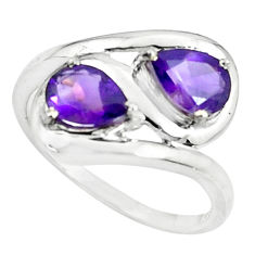 925 sterling silver 3.26cts natural purple amethyst pear ring size 8 r5884