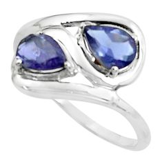 3.26cts natural blue iolite 925 sterling silver ring jewelry size 7.5 r5893