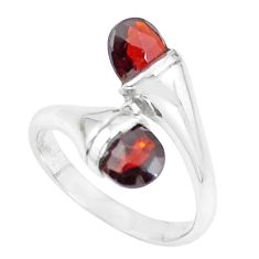 925 sterling silver 4.43cts natural red garnet drop ring jewelry size 8 r5904