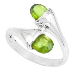 3.42cts natural green peridot 925 sterling silver ring jewelry size 5.5 r5910