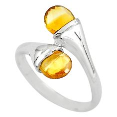 3.65cts natural yellow citrine 925 sterling silver ring jewelry size 6.5 r5914