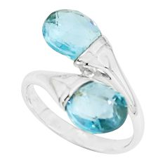 6.82cts natural blue topaz 925 sterling silver ring jewelry size 7 r5917