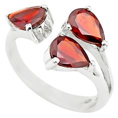 925 sterling silver 4.43cts natural red garnet pear adjustable ring size 9 r5919