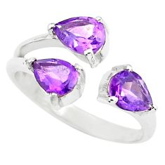 3.91cts natural purple amethyst 925 sterling silver adjustable ring size 7 r5920