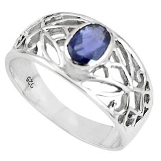 1.45cts natural blue iolite 925 sterling silver solitaire ring size 7.5 r5926