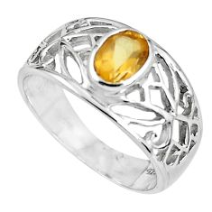 1.56cts natural yellow citrine 925 sterling silver solitaire ring size 7.5 r5933