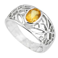 925 sterling silver 1.40cts natural yellow citrine solitaire ring size 5.5 r5936