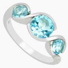 925 sterling silver 4.30cts natural blue topaz round ring jewelry size 5.5 r5944