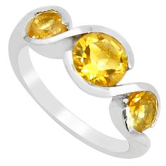 925 sterling silver 4.51cts natural yellow citrine round ring size 5.5 r5947