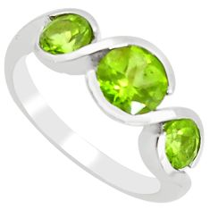 4.53cts natural green peridot 925 sterling silver ring jewelry size 8.5 r5950