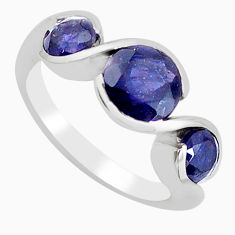 4.51cts natural blue iolite 925 sterling silver ring jewelry size 5.5 r5955