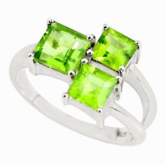 3.02cts natural green peridot 925 sterling silver ring jewelry size 7.5 r5967