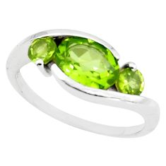 4.46cts natural green peridot 925 sterling silver ring jewelry size 5.5 r6008