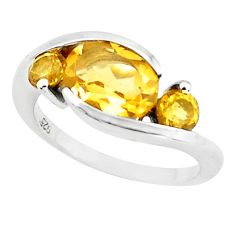4.22cts natural yellow citrine 925 sterling silver ring jewelry size 5.5 r6012