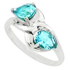 925 sterling silver 3.13cts natural blue topaz pear ring jewelry size 7 r6024