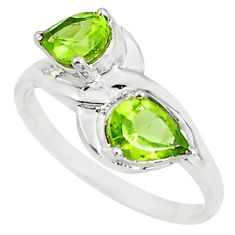 925 sterling silver 3.29cts natural green peridot pear ring jewelry size 6 r6028