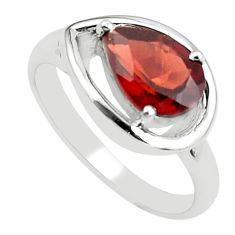 925 sterling silver 2.90cts natural red garnet solitaire ring size 8 r6044