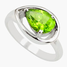 925 sterling silver 2.69cts natural green peridot solitaire ring size 6 r6052