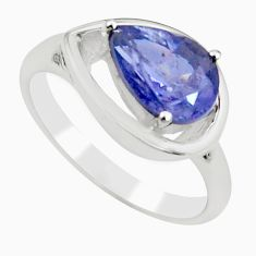 925 sterling silver 2.81cts natural blue iolite solitaire ring size 7.5 r6060
