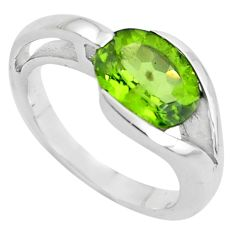 4.38cts natural green peridot 925 silver solitaire ring jewelry size 7.5 r6063