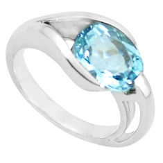 4.55cts natural blue topaz 925 sterling silver solitaire ring size 5.5 r6067