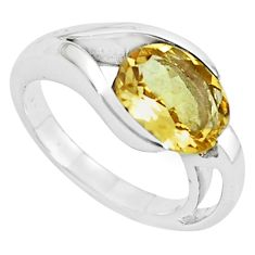 925 sterling silver 4.38cts natural yellow citrine solitaire ring size 7.5 r6073