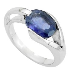 4.19cts natural blue iolite 925 sterling silver solitaire ring size 6.5 r6080
