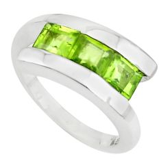 2.88cts natural green peridot 925 sterling silver ring jewelry size 5.5 r6085