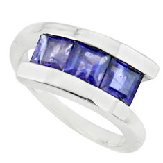 3.24cts natural blue iolite 925 sterling silver ring jewelry size 8.5 r6091