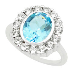 5.75cts natural blue topaz topaz 925 sterling silver ring jewelry size 5.5 r6093
