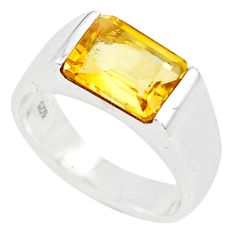 925 silver 3.41cts natural yellow citrine solitaire ring jewelry size 5.5 r6104