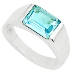 3.14cts natural blue topaz 925 sterling silver solitaire ring size 6.5 r6105