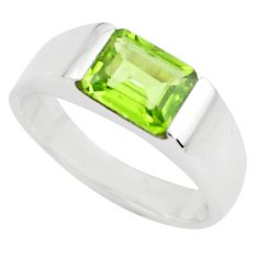 3.52cts natural green peridot 925 silver solitaire ring jewelry size 6.5 r6106