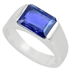 3.13cts natural blue iolite 925 sterling silver solitaire ring size 7.5 r6108