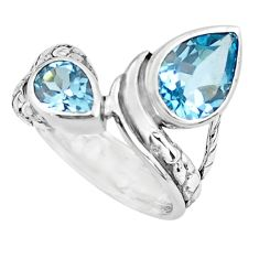 3.41cts natural blue topaz 925 sterling silver ring jewelry size 5.5 r6110