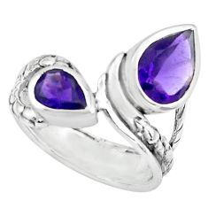 925 sterling silver 3.28cts natural purple amethyst pear ring size 6.5 r6112