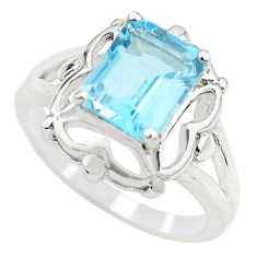 925 sterling silver 3.36cts natural blue topaz solitaire ring size 5.5 r6116