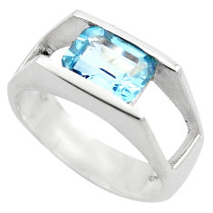 3.37cts natural blue topaz 925 sterling silver solitaire ring size 5.5 r6117