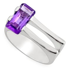 2.34cts natural purple amethyst 925 silver solitaire ring jewelry size 7.5 r6118