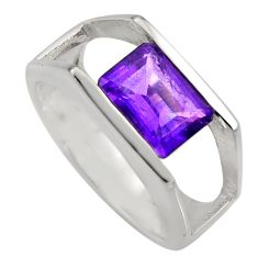 3.29cts natural purple amethyst 925 silver solitaire ring jewelry size 5.5 r6126