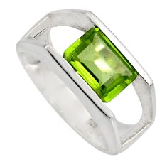 3.16cts natural green peridot 925 silver solitaire ring jewelry size 5.5 r6129