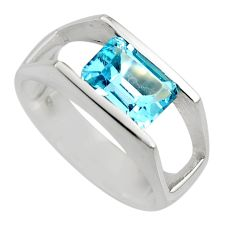 3.24cts natural blue topaz 925 sterling silver solitaire ring size 7.5 r6133