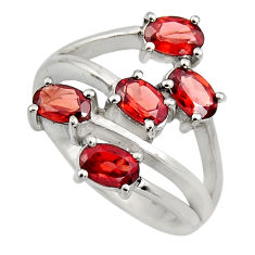 925 sterling silver 5.32cts natural red garnet oval ring jewelry size 6.5 r6147