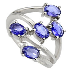 5.16cts natural blue iolite 925 sterling silver ring jewelry size 6.5 r6160