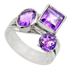 5.14cts natural purple amethyst 925 sterling silver ring jewelry size 7 r6165