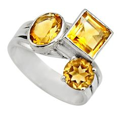 925 sterling silver 5.34cts natural yellow citrine ring jewelry size 7.5 r6172