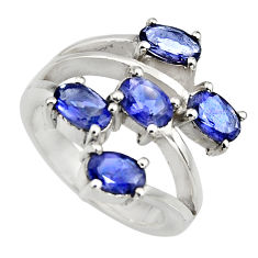5.32cts natural blue iolite 925 sterling silver ring jewelry size 5.5 r6179