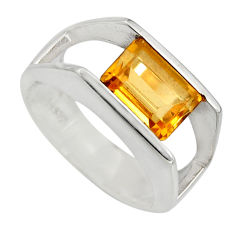 3.23cts natural yellow citrine 925 sterling silver ring jewelry size 6.5 r6180